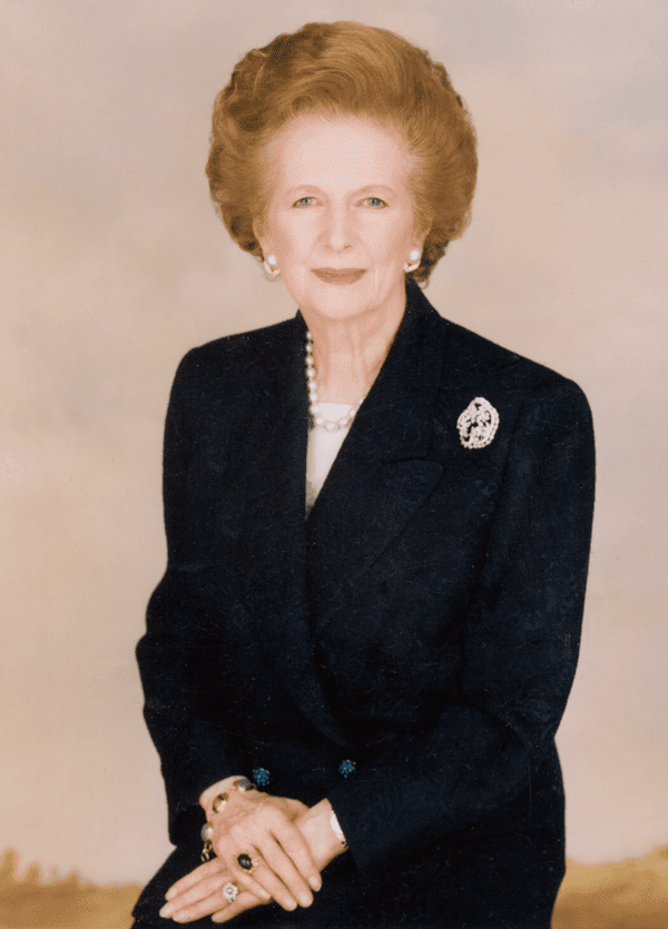 Mrs. Thatcher wears a gorgeous brooch.