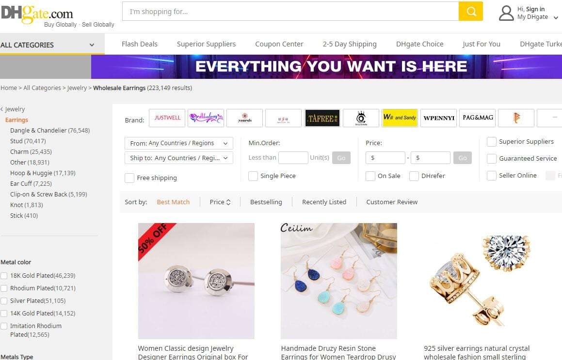 DHgate Homepage