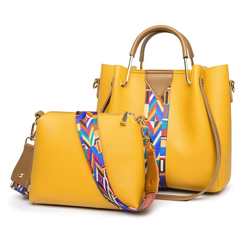 Pure Color Woven Straps Shoulder Bag