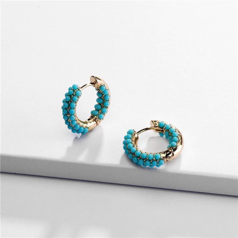 Rainbow Color Pearl Resin Hoop Earrings
