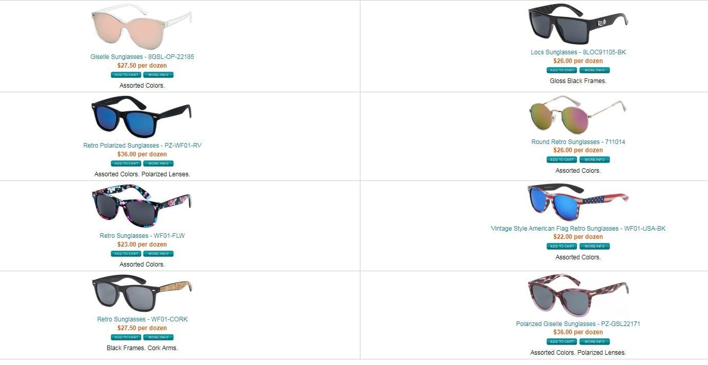 Miami  Wholesale Sunglasses homepage