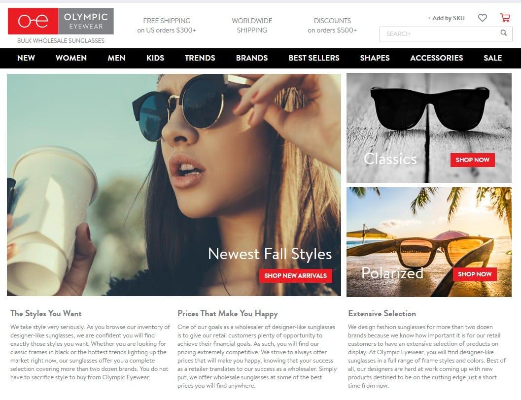 Olympiceyewear homepage