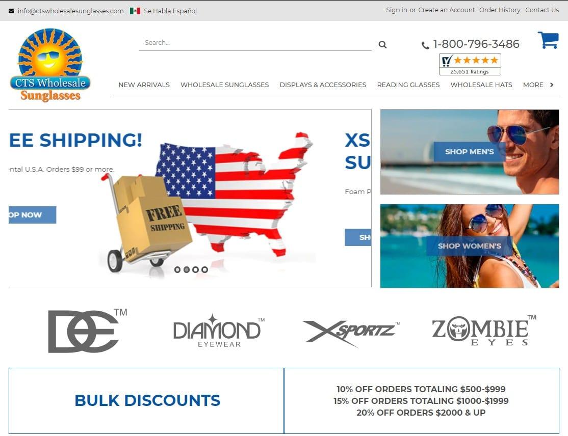 CTS Wholesale Sunglasses homepage