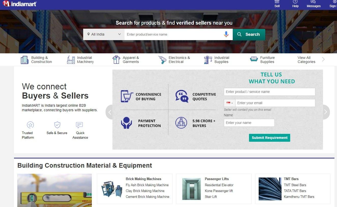 Indiamart homepage