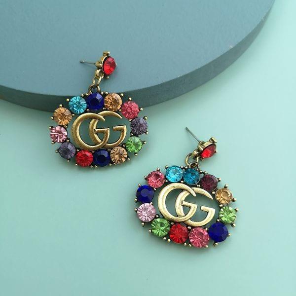 colorful diamond earrings