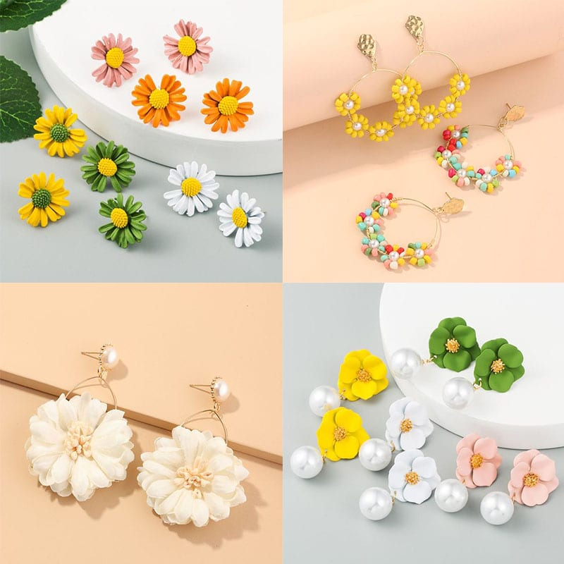 korean fashion flower earrings