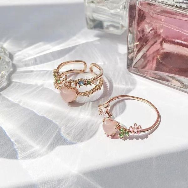 Artificial Gem Diamond Love Ring