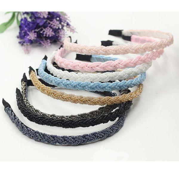 twist crystal hand-beaded headband