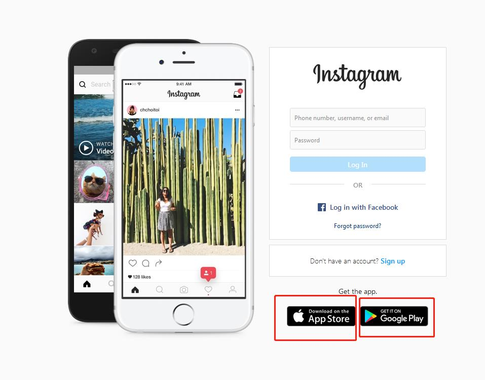 Instagram log-in page