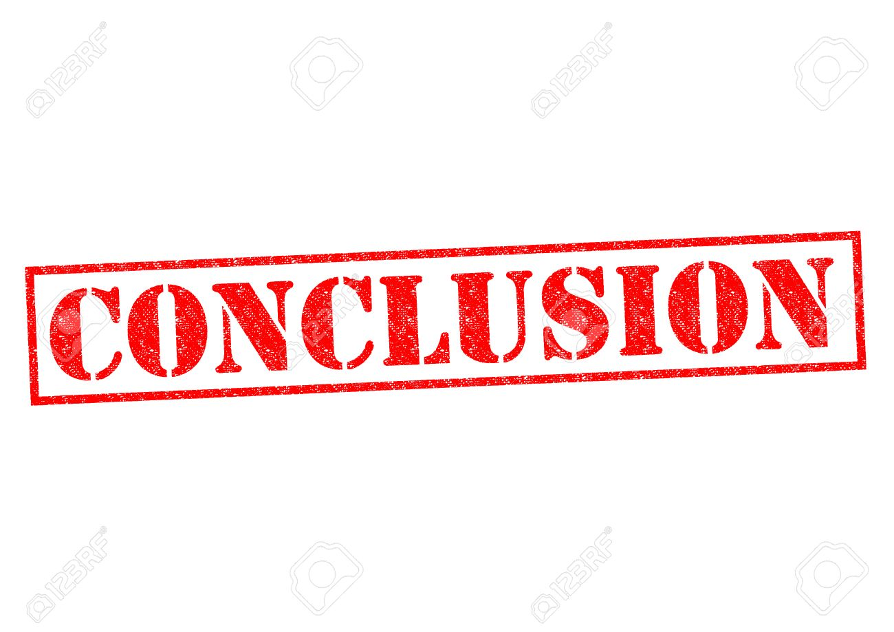 CONCLUSION red Rubber Stamp over a white background