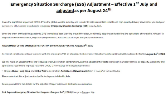 Emergency Situation Surcharge Adjustment conducted by DHL officials