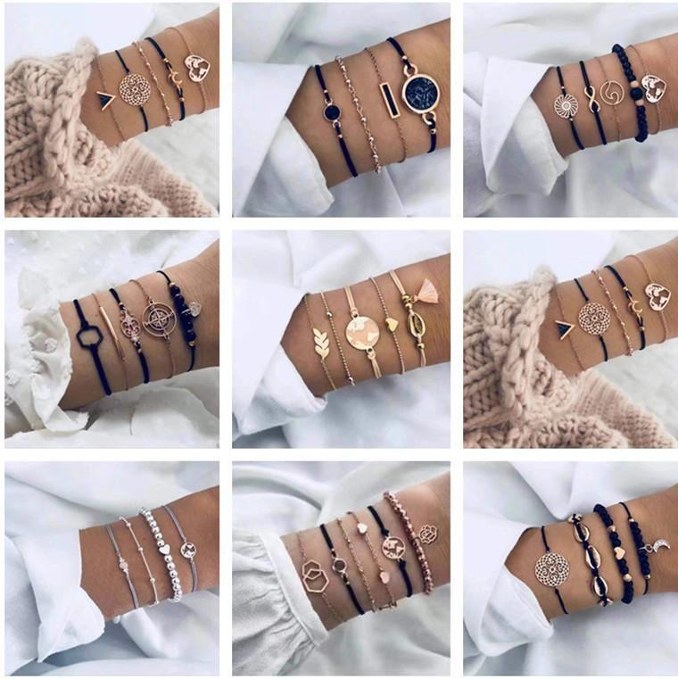 Multiple stackable bracelet sets