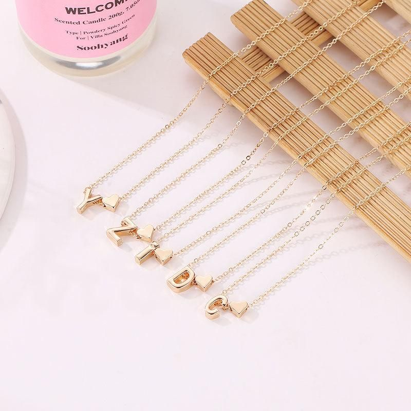 Wholesale initial necklace with heart shape