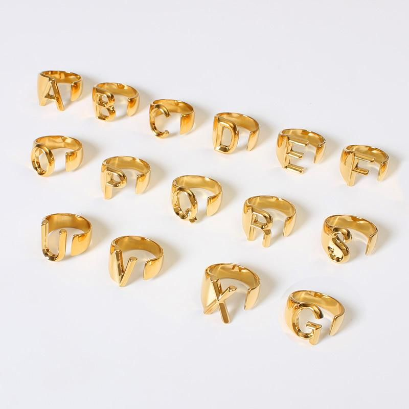 Golden colored Alphabet letter rings