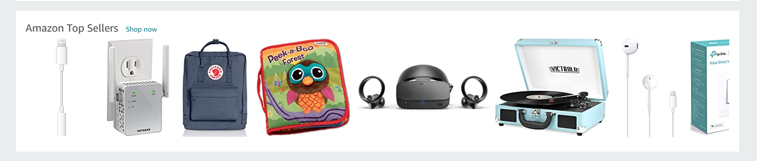 screenshot of top sellers in Amazon