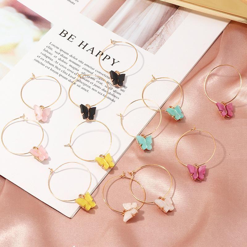 cheap hoop butterfly earrings