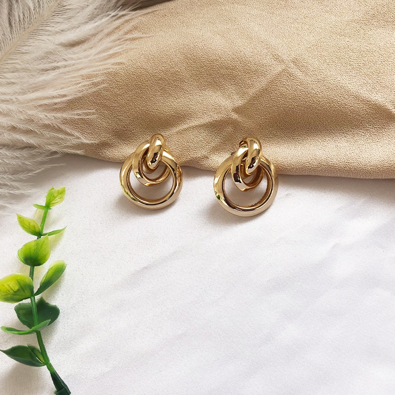 golden hoop ring earrings