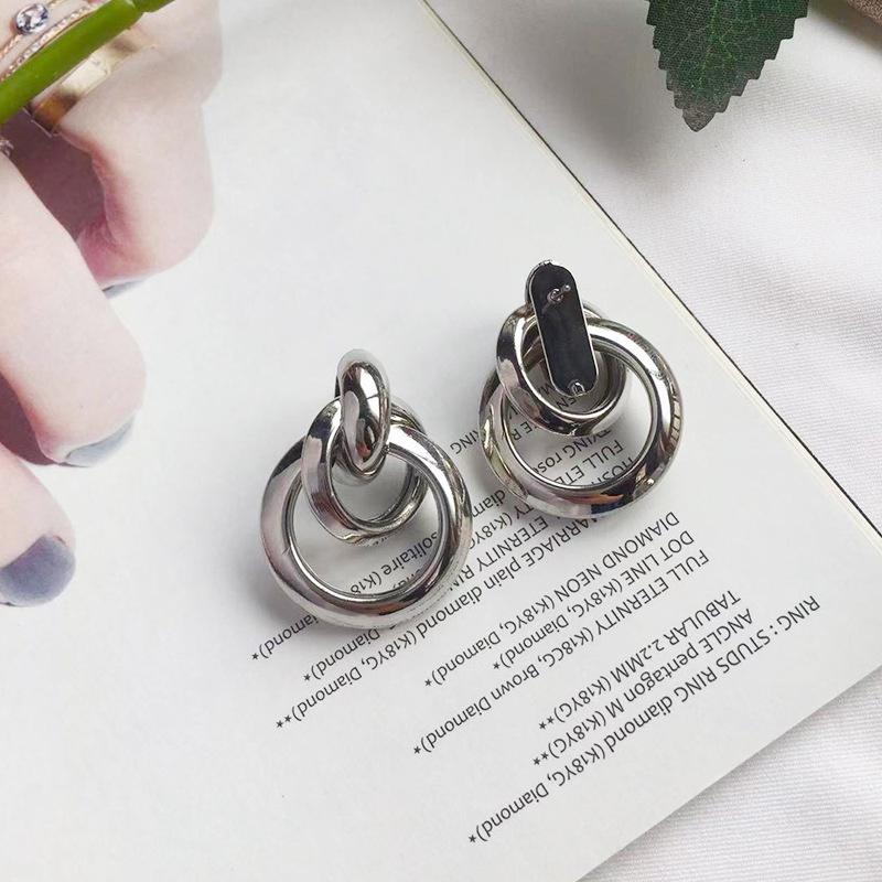 silver hoop ring earrings