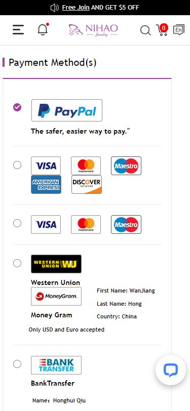 payment methods page on mobile site