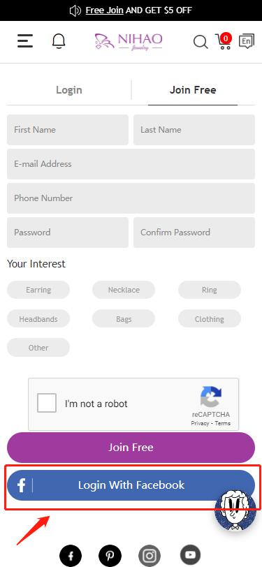 register page for mobile site