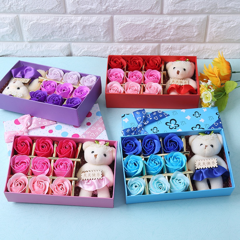 nine soap rose flowers with bear gift box