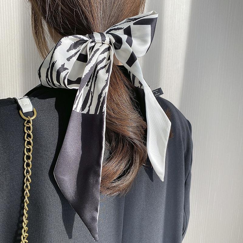 Leopard Print Silk Hair Scarf
