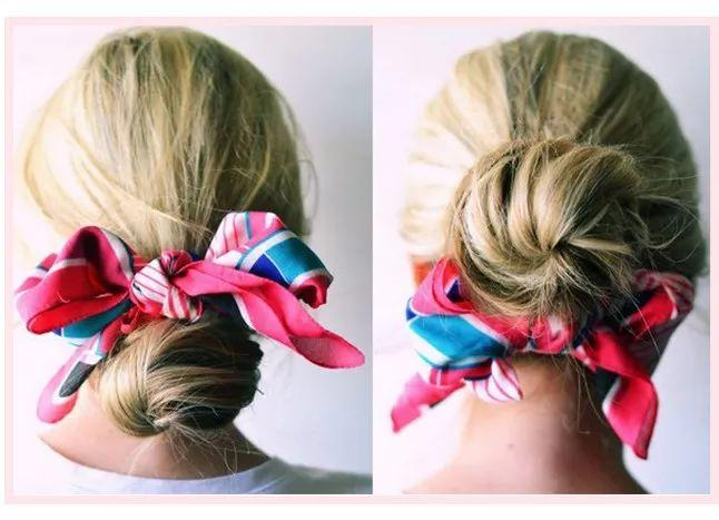 Style hair in a messy bun and tie the scarf