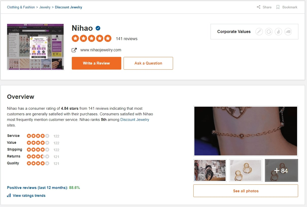 nihao jewelry reviews on sitejabber
