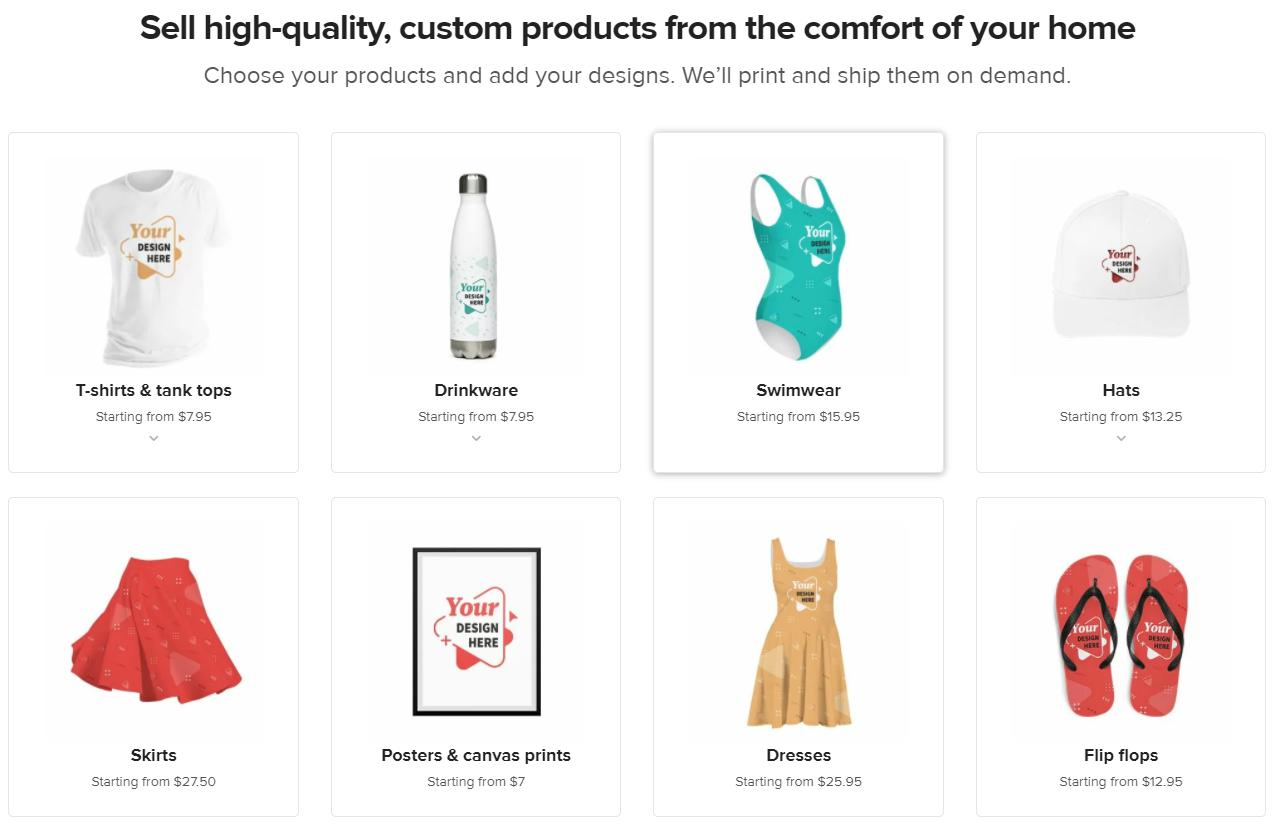 Custom products From printful