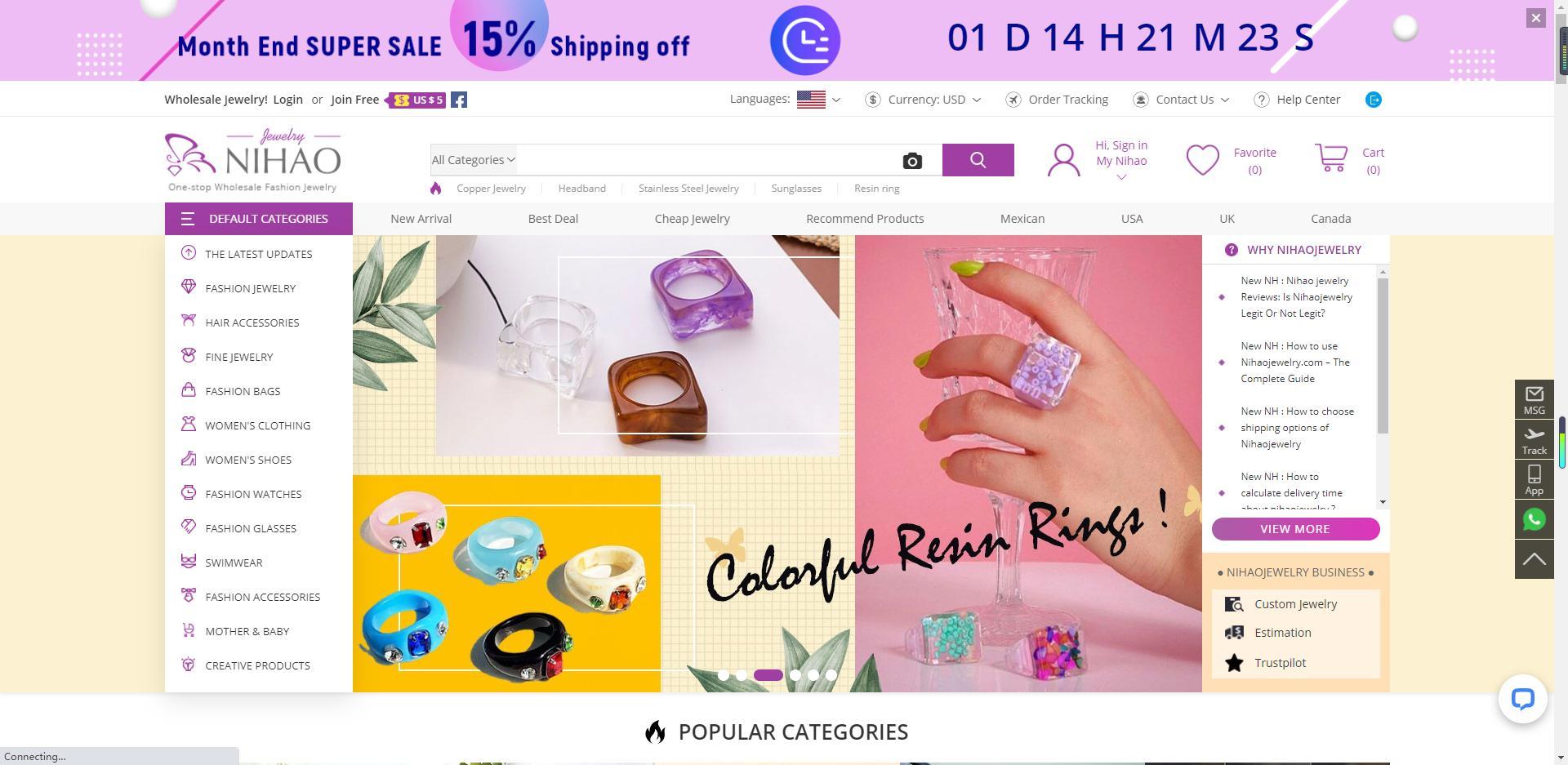 Nihaojewelry homepage- colorful resin rings banner