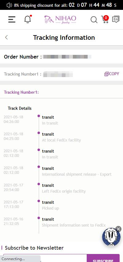 tracking info mobile site