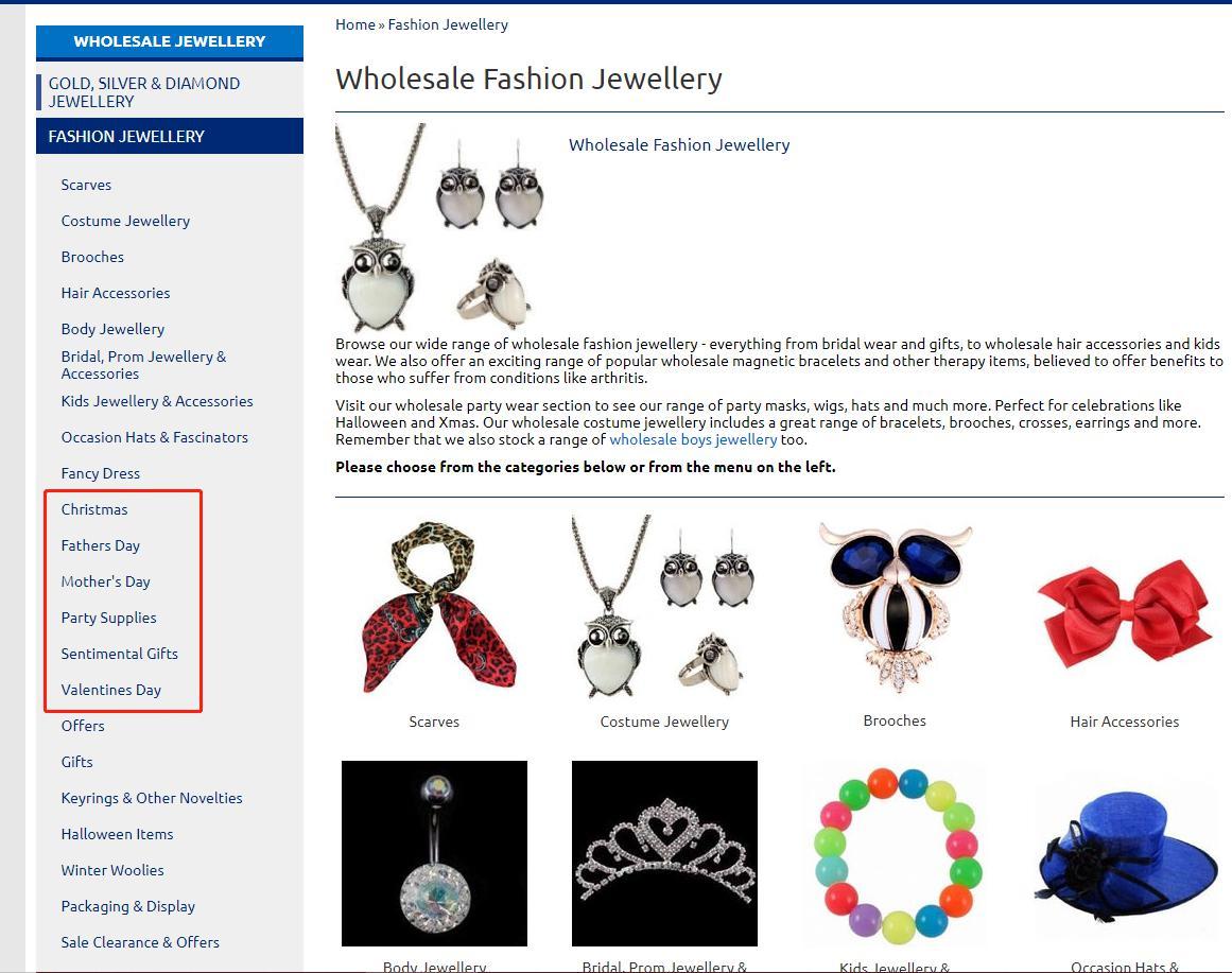 jewellery world navigation bar
