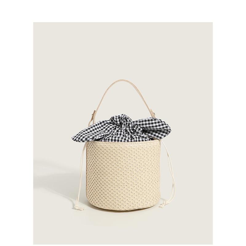 bowknot lattice bucket straw bag nihaojewelry