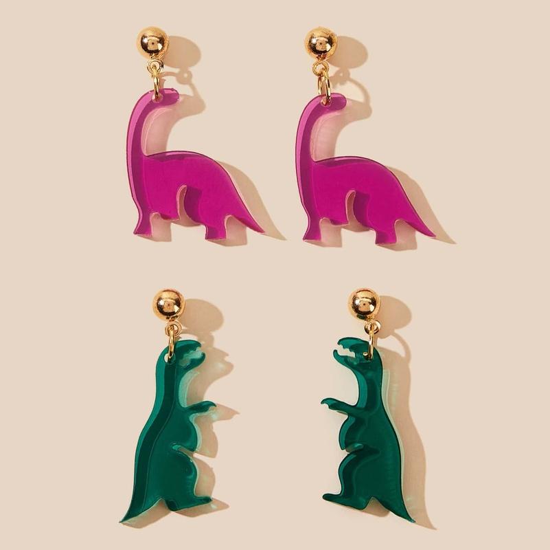 cute transparent dinosaur earrings set nihaojewelry