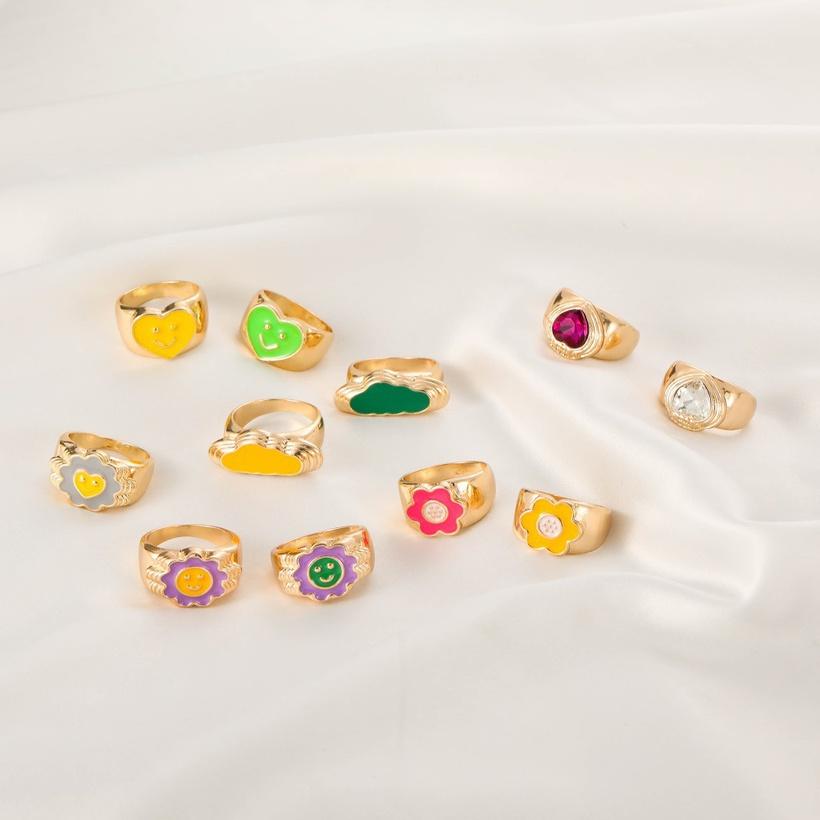 heart smiley flower copper ring nihaojewelry