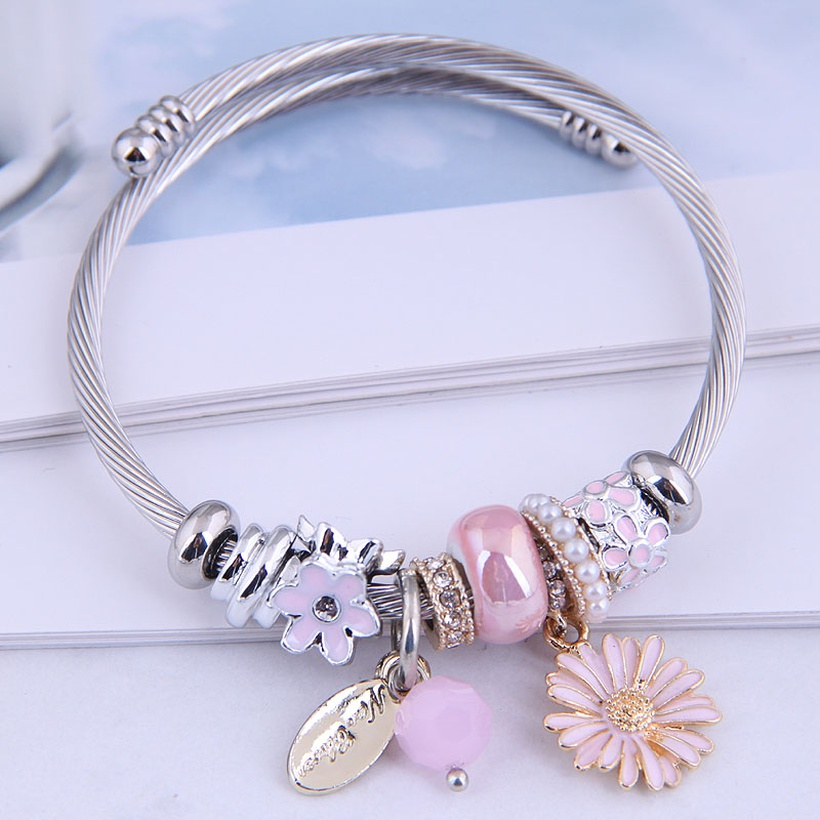 metal daisy dangle charm bracelet nihaojewelry