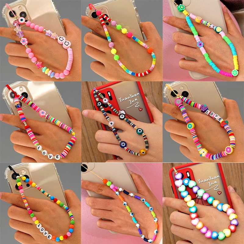 rainbow phone beads chains