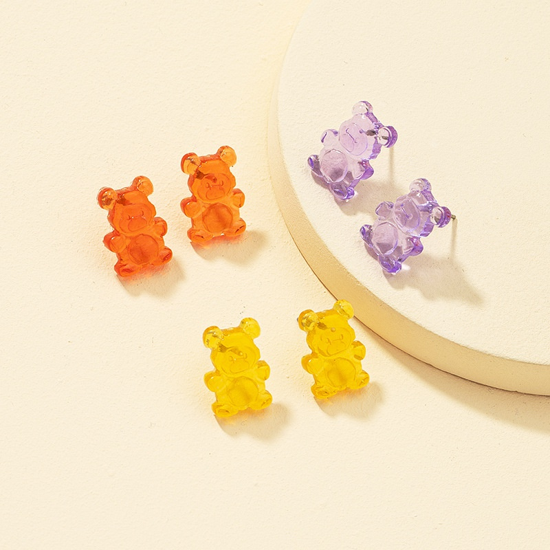 resin bear earrings