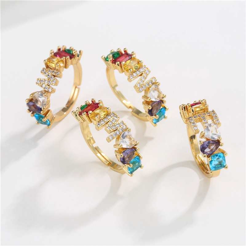 zirconium letter open copper ring nihaojewelry