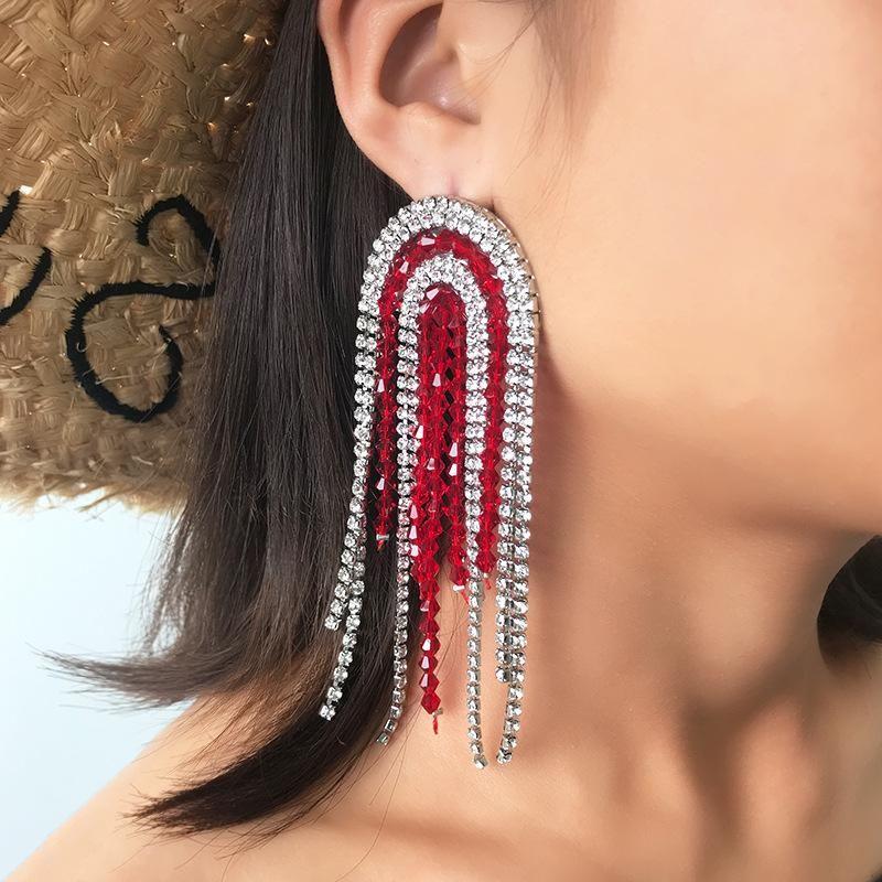 Rhinestone fringed earrings