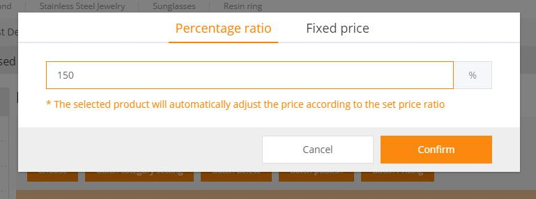 batch princing set by percentage ratio