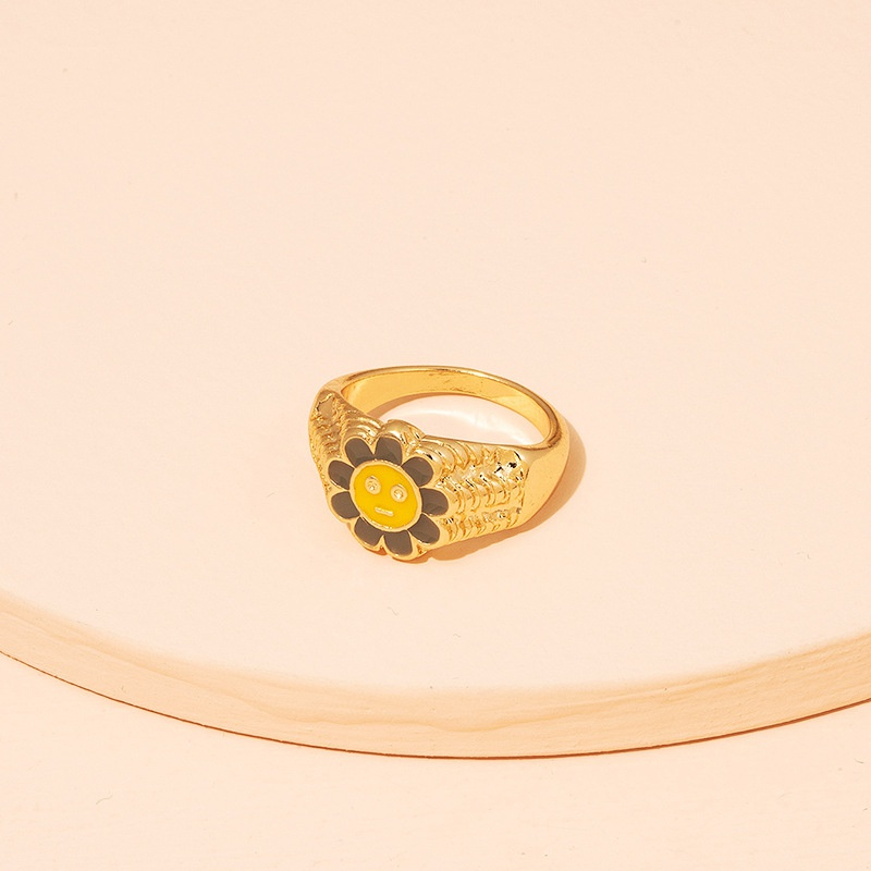 flower enamel rings