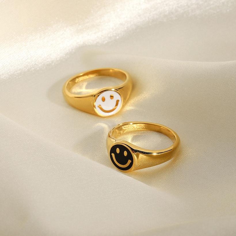 smiley enamel rings