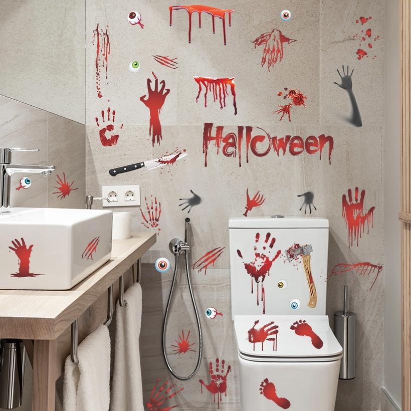 Halloween wall sticker bloody handprint NHAF390022