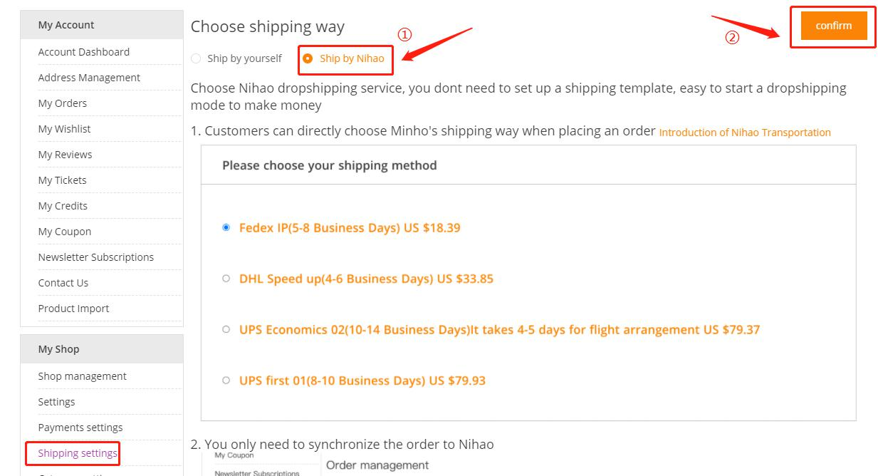 ship solution for dropshipping customers