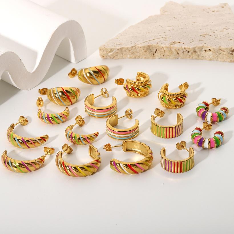geometric stainless steel earrings NHJIE370002