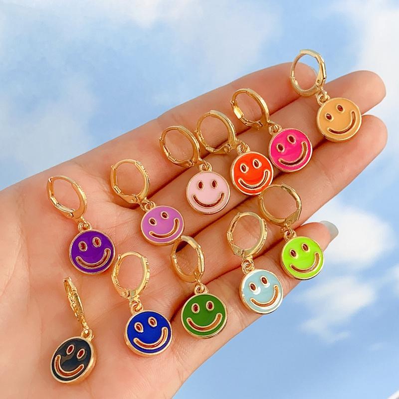 multicolor smiley earrings NHYIA401091