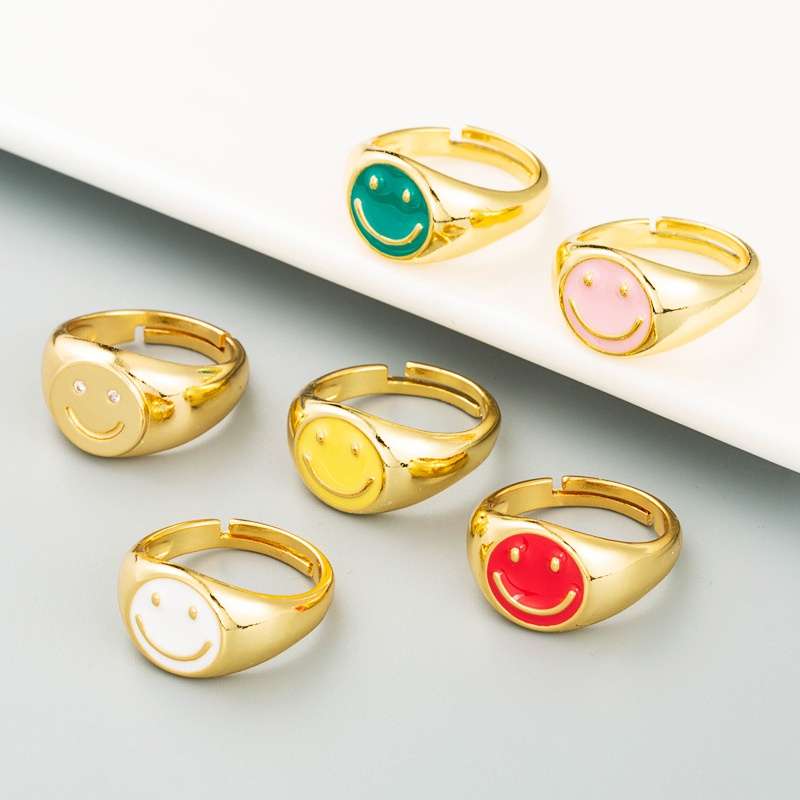 smiley gold plated rings NHLN355164