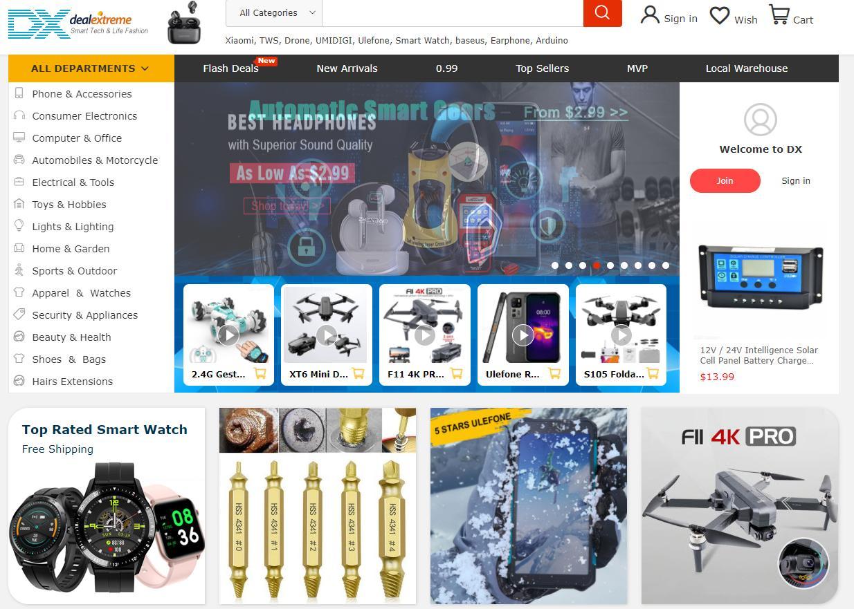 DealExtreme homepage